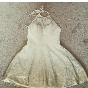 cute homecoming dress white to gold ombre size 4